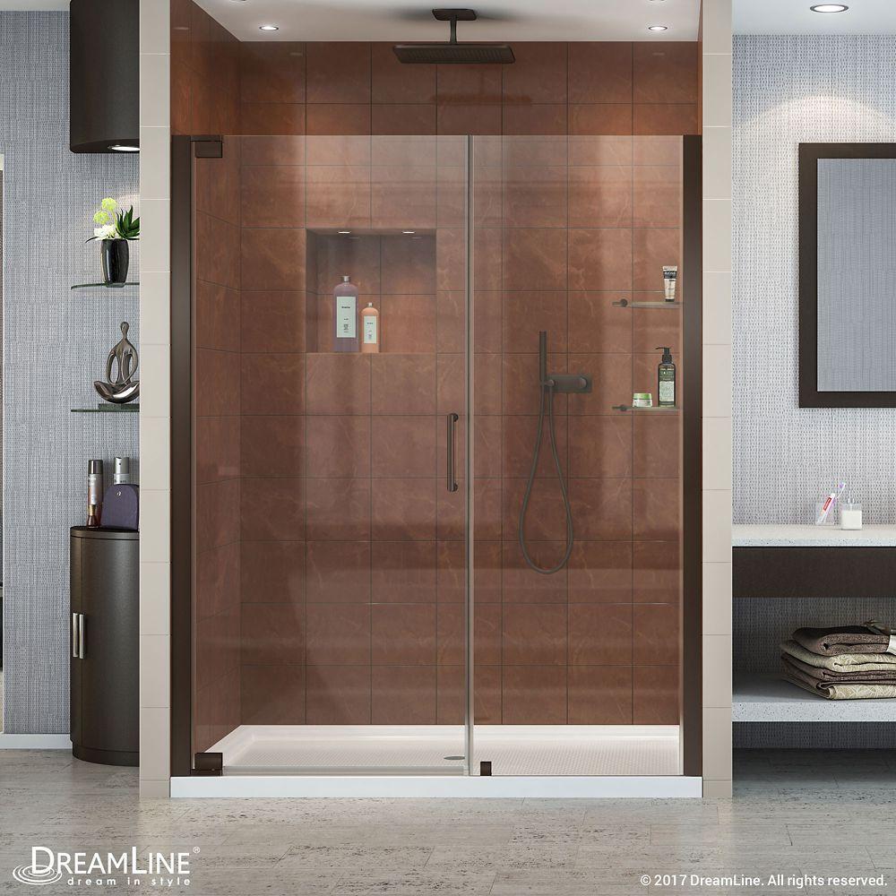 Elegance 58 Inch To 60 Inch X 72 Inch Semi Frameless Pivot Shower