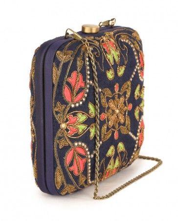 Midnight Blue Square Clutch Bags Karieshma Sarnaa Now Http