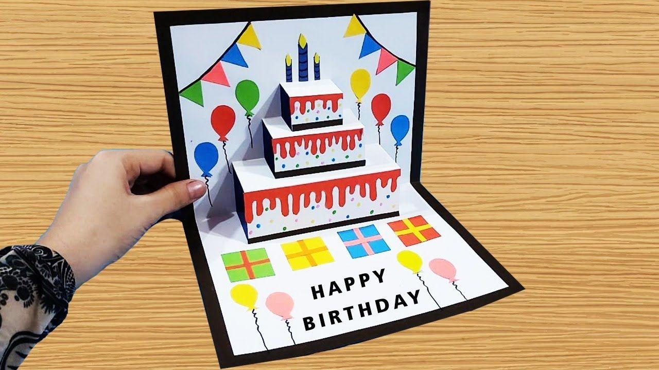 Diy Pop Up Cake Card Easy Birthday Card Greeting Cards For Birthday Happy Birthday Cards Diy Birthday Cards Diy Simple Birthday Cards