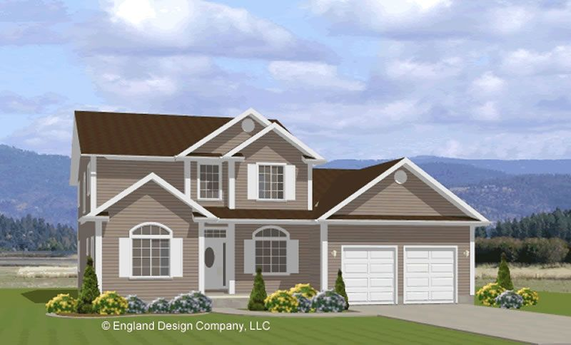 Simple houses house plan t2772 farmhouse country two for Double story garage