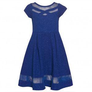 b76ade22d Bonnie Jean Big Girls Royal Blue Criss-Cross Tea-Length Christmas Dress 7-16