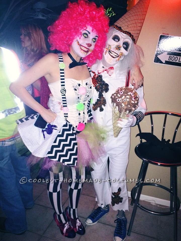 Handmade Super Creepy Ice Cream Man and Candy Clown Couple Costume - homemade halloween costume ideas men
