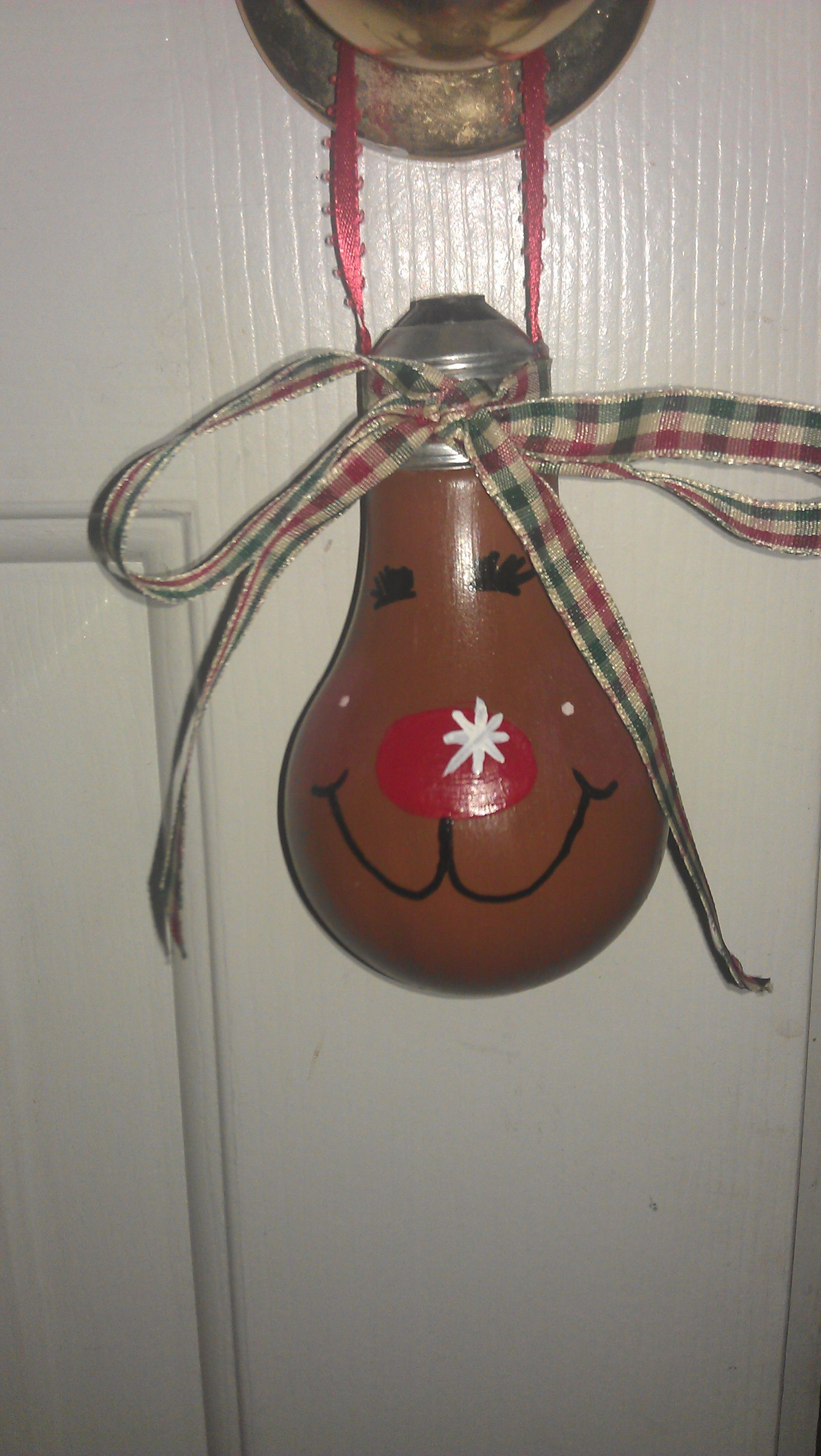 Reindeer Ornament Made Out Of A Old Light Bulb Christmas Light Ornament Reindeer Ornaments Christmas Ornaments