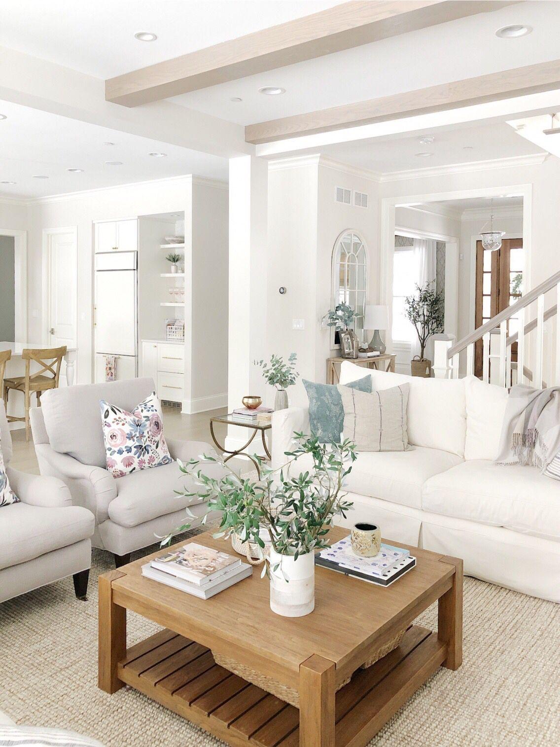 Neutral Living Room Benjamin Moore Classic Gray Wool Jute Rug