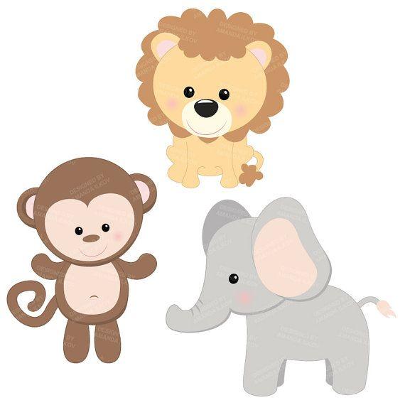 professional baby jungle animals clipart vector set baby shower rh pinterest com free printable baby jungle animal clipart baby girl jungle animals clipart