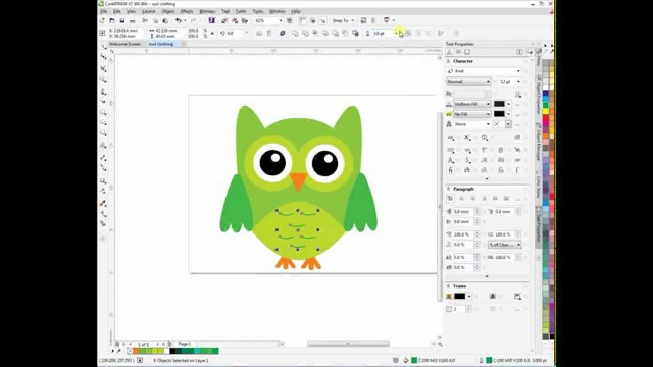 Corel draw vs photoshop for t shirt design - Corel Draw Tutorial X7 Owl T Shirt Design