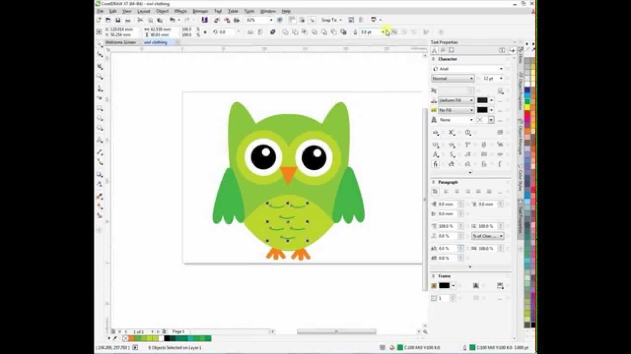 Corel Draw Tutorial X7 Owl T Shirt Design Ilustrator Anak