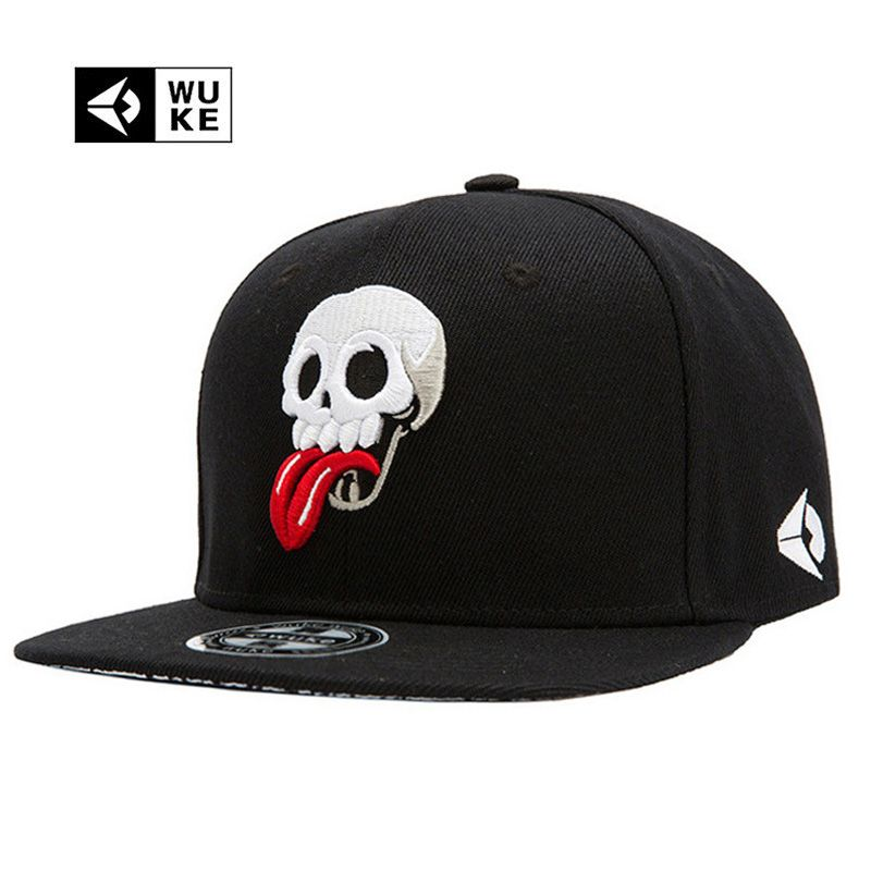 WUKE Brand New Hip Hop Snapback Cap Hats Skull Adjustable Baseball Cap For Men  Women casquette gorras planas bone aba reta toca 9ebe6e311b2