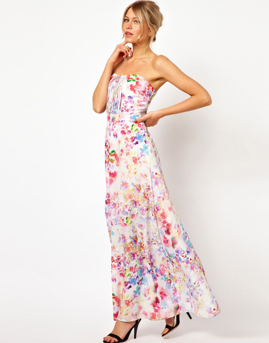 f1ba6016bd Oasis Painted Print Pleat Front Maxi Dress