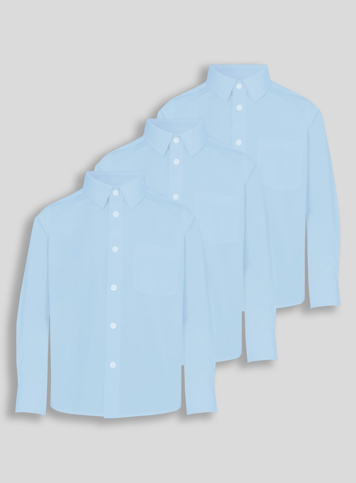 These long-sleeved cotton blend school shirts made from a non iron fabric for fuss-free mornings. With details like a triangle collar and single-breast pocket, this pack of three is classic and essential.Blue long-sleeved shirtsPack of 3Non ironElasticated cuff age 3-5 for easy dressingSingle chest pocketKeep away from fire