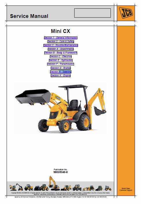 JCB Mini CX Backhoe Loader Service Manual | JCB Manuals ... Jcb Mini Cx Wiring Diagram on