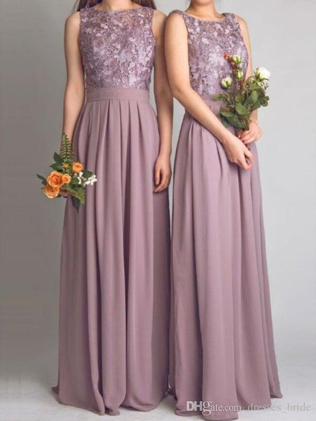 Dusty Mauve Bridesmaid Dresses For Wedding With Applique Pleat ...