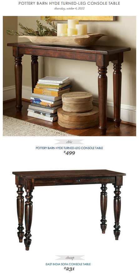 COPY CAT CHIC FIND: Pottery Barn Hyde Turned-Leg Console Table VS East India Sofa Console Table