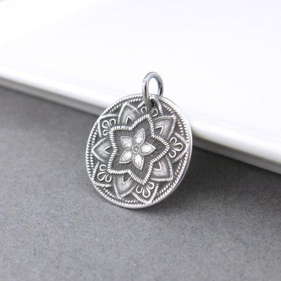 Silver Flower Pendant Five Point Flower Charm Sterling Silver