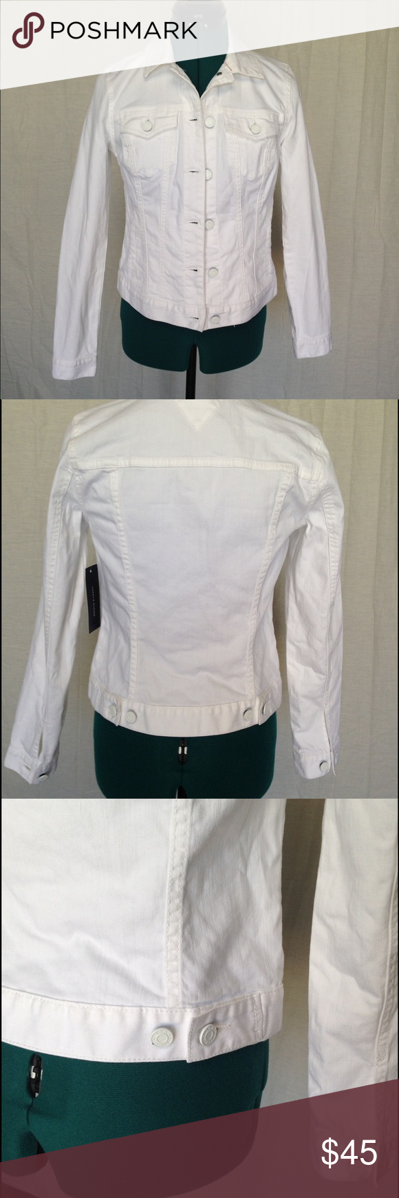 e2c5132393f Tommy Hilfiger white denim jacket women s xs New with tags Tommy Hilfiger  denim jacket. Very flattering and form fitting. White in color.