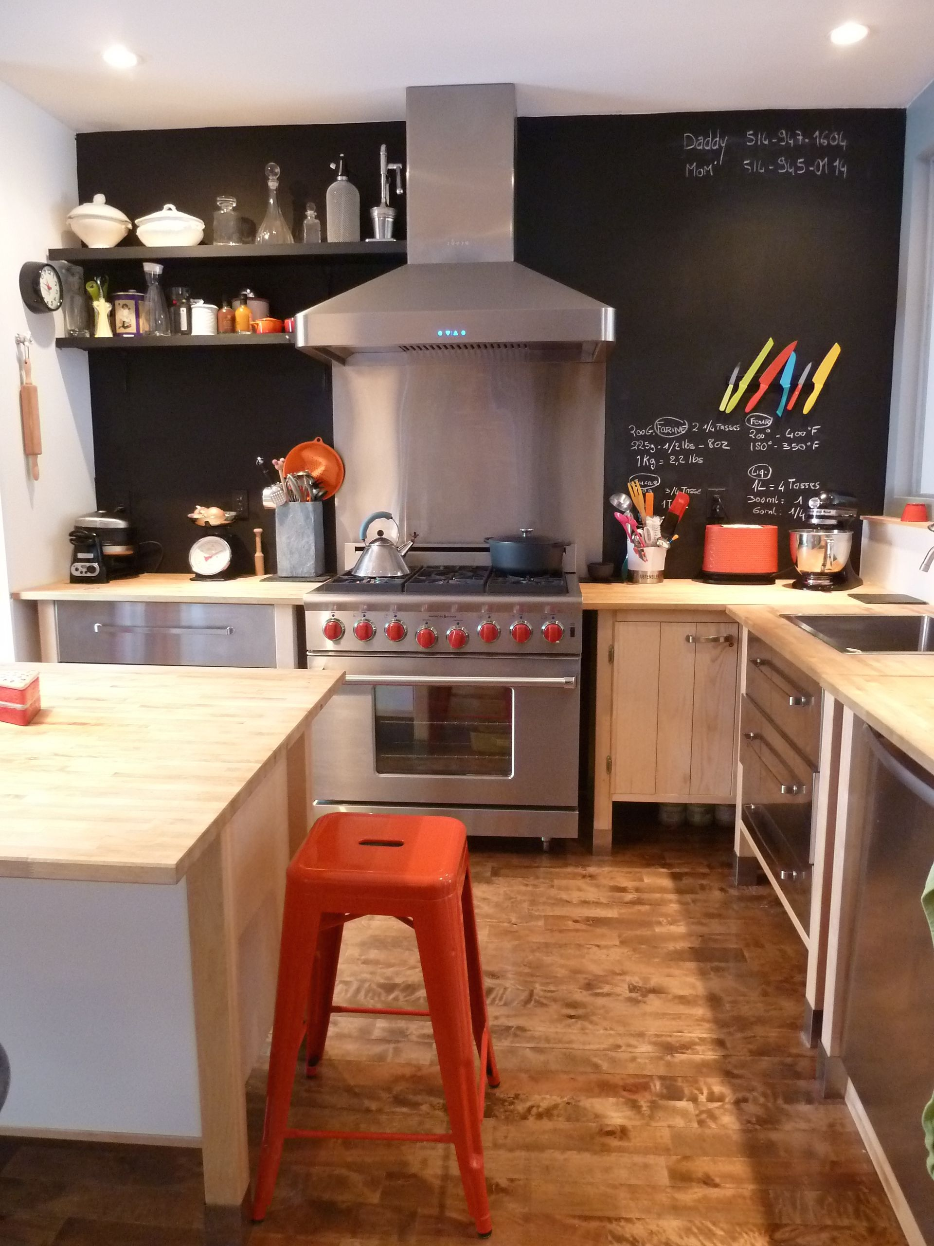 Industrial Style Kitchen  Wood Countertops  Chalkboard Black Wall