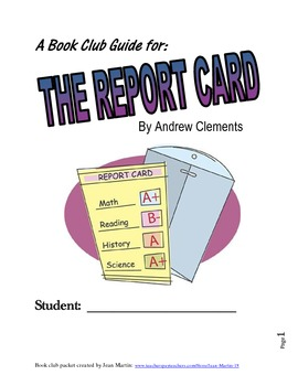 The Report Card By Andrew Clements A Book Club Guide By Jean Martin In 2021 List Of Vocabulary Words Summary Writing Book Study