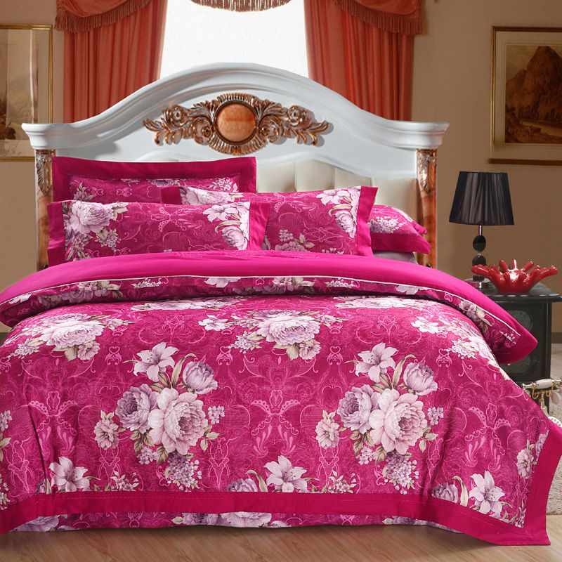 Aliexpress.com : Buy Rose red Pure cotton Jacquard hollow craft 4pcs bedding sets with duvet cover,bedding sheet and pillow cases for home textiles from Reliable 4pcs bedding sets suppliers on Yous Home Textile $73.00 - 75.00