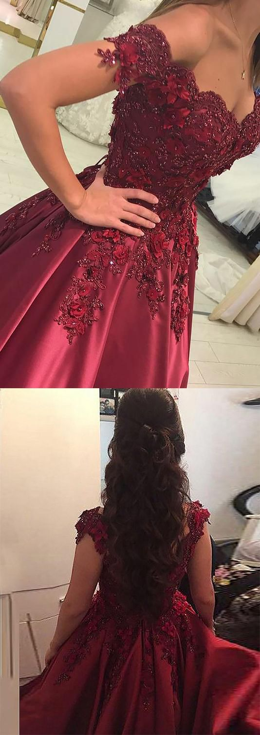 Ball gown burgundy sleeveless off the shoulder lace applique prom
