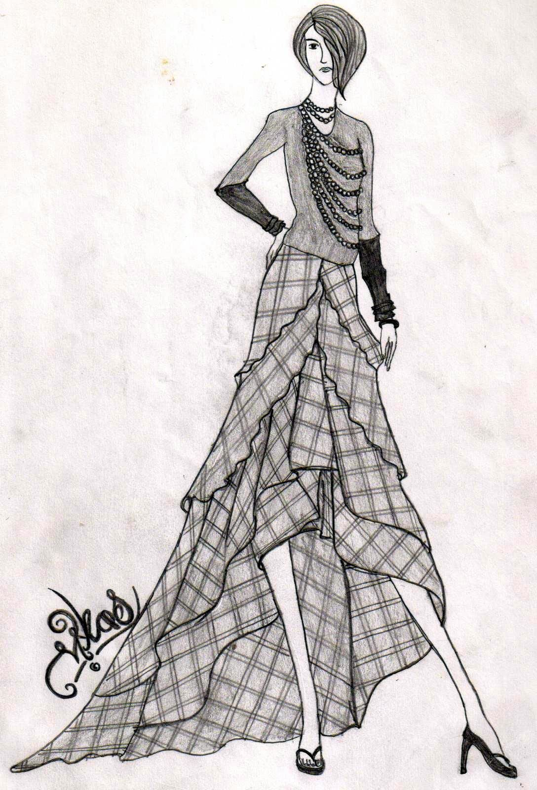Checkered dress pencil drawings in 2019 pencil drawings drawing