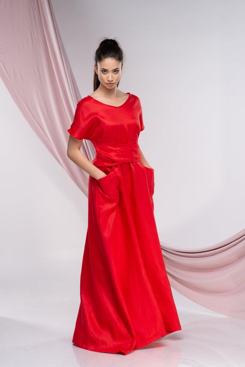 Photo of Abito rosso taglie forti, abito da cocktail, abito lungo di lino