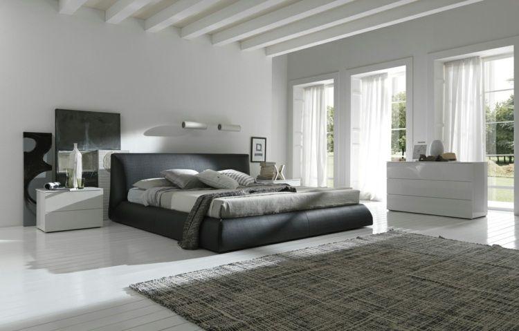 Déco noir et blanc chambre à coucher: 25 exemples élégants   chambre ...