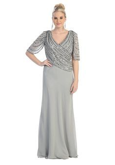 Silver Long Mother of the Bride Dresses Plus Size