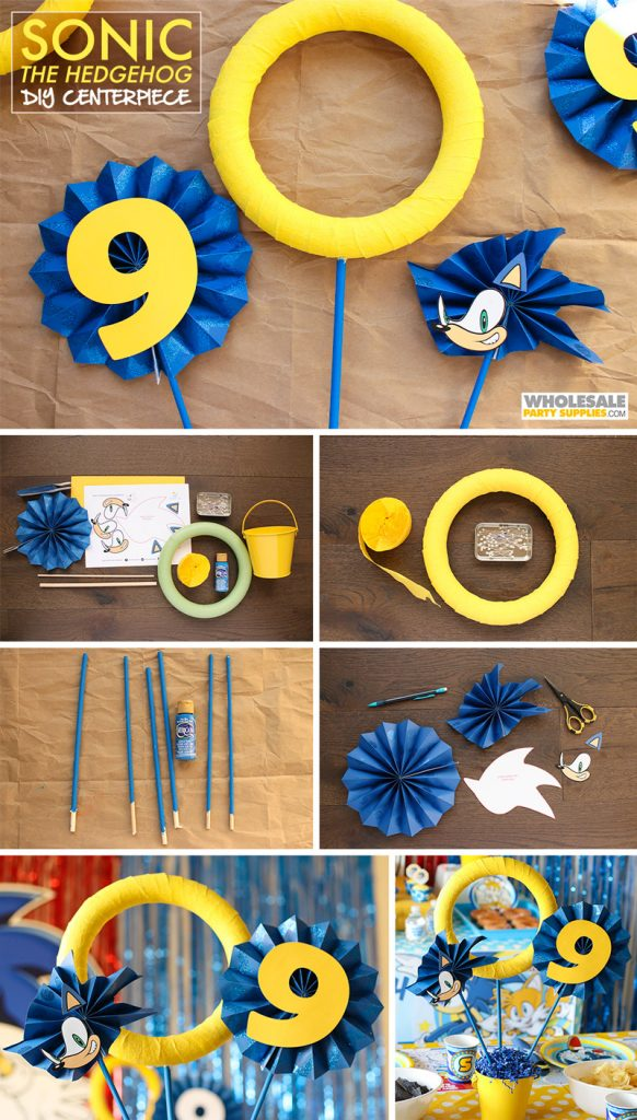 Diy Sonic The Hedgehog Centerpiece In 2020 Sonic Birthday Parties Birthday Party Decorations Diy Sonic Birthday