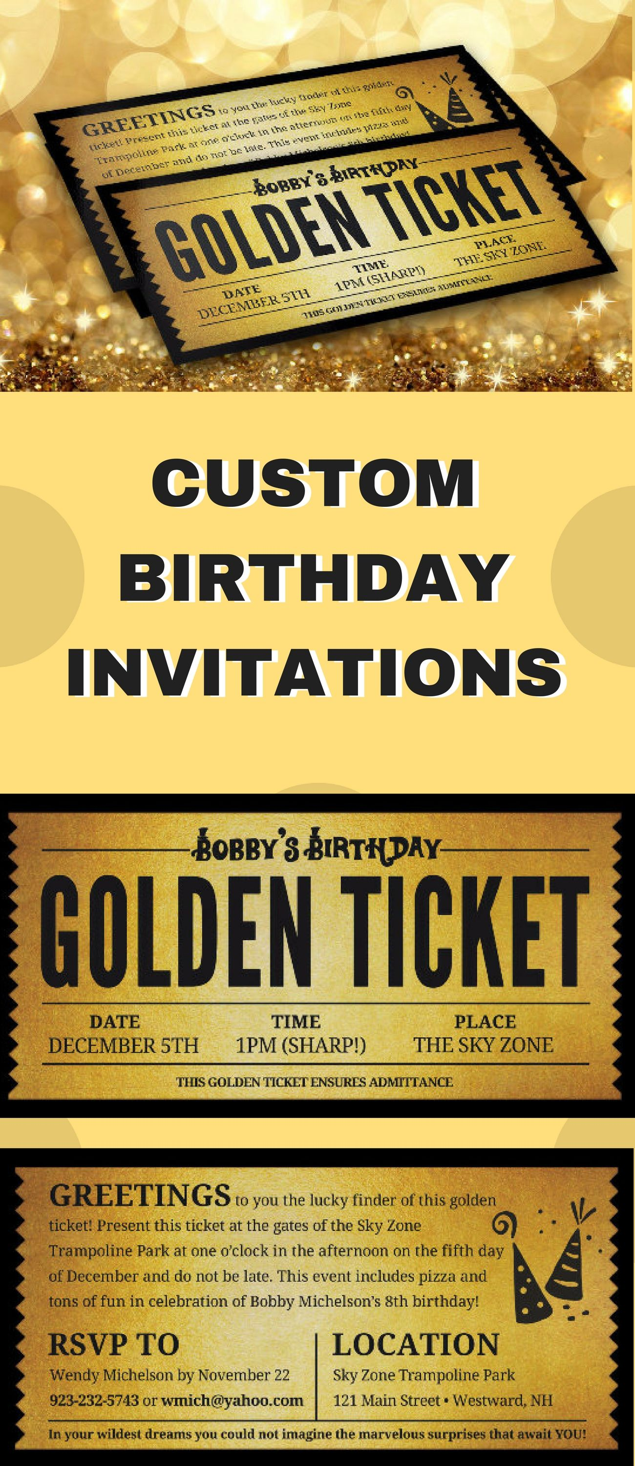 7x3.5 Printable Custom Birthday Golden Ticket - Super cute for a ...