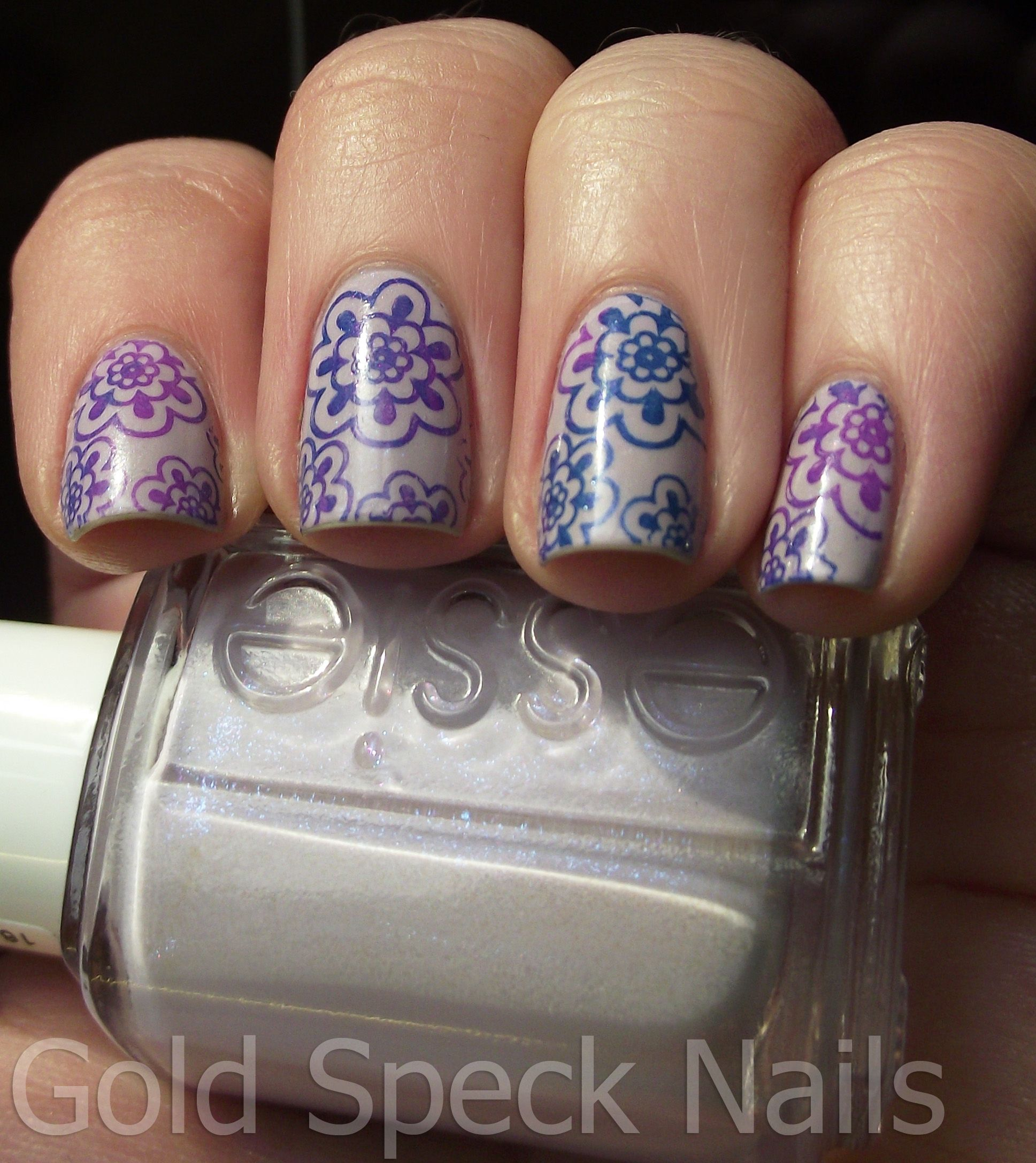 Base Coat: La Femme  Base Colour: Essie - To Buy Or Not To Buy  Stamping Colours: W7 - Blue Lagoon                                    Beauty UK - Jelly Bean  Image Plate: Bundle Monster BM 321  Top Coat: Rimmel 60 Seconds - Clear
