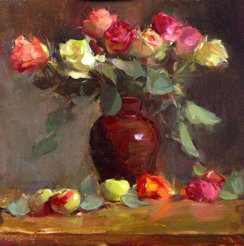 Pink rose painting original Berries oil paintings Roses oil painting canvas original Small still life oil painting original