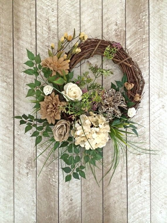 Burlap Summer Wreath For Door, Front Door Wreath, Outdoor Wreath, Burlap  Wreath, Summer Door,Spring Wreath,Grapevine Wreath,Silk Floral,Etsy