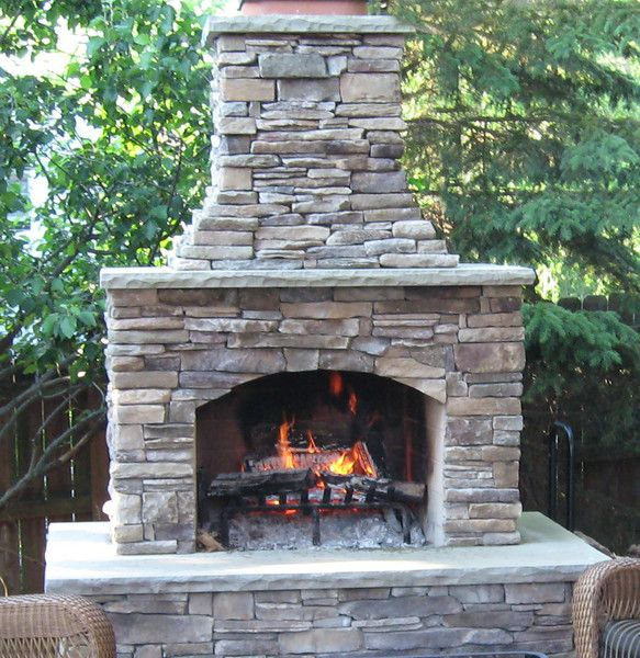 "Stone Fireplace Next To The Outdoor Kitchen And A Lovely: 48"" Contractor Series Outdoor Fireplace Kit"