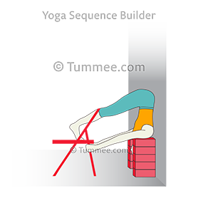 headstand pose preparation at wall with chair and blocks