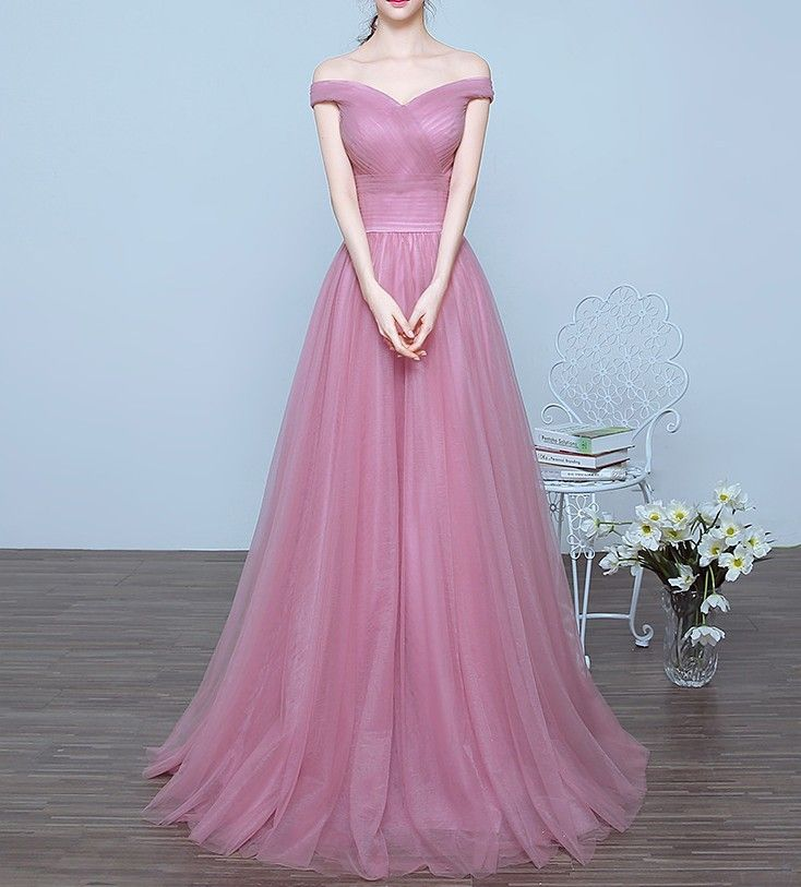 Charming Off the Shoulder A-line Long Prom Dresses,   Vestidos ...