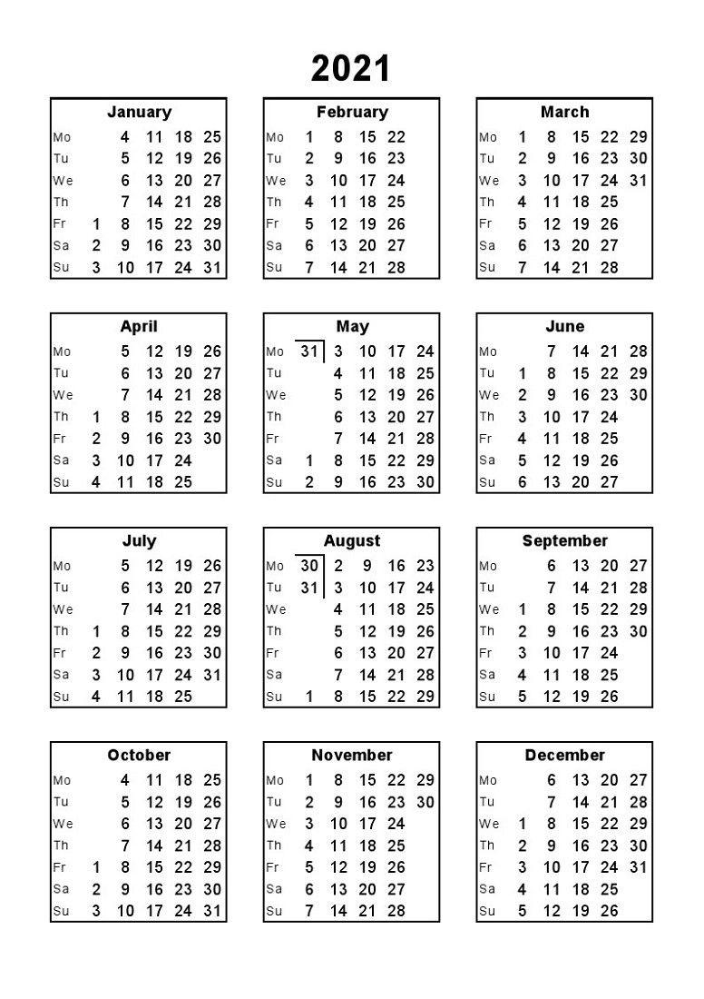 2021 12 Month Calendar Printable Free Full Page di 2020