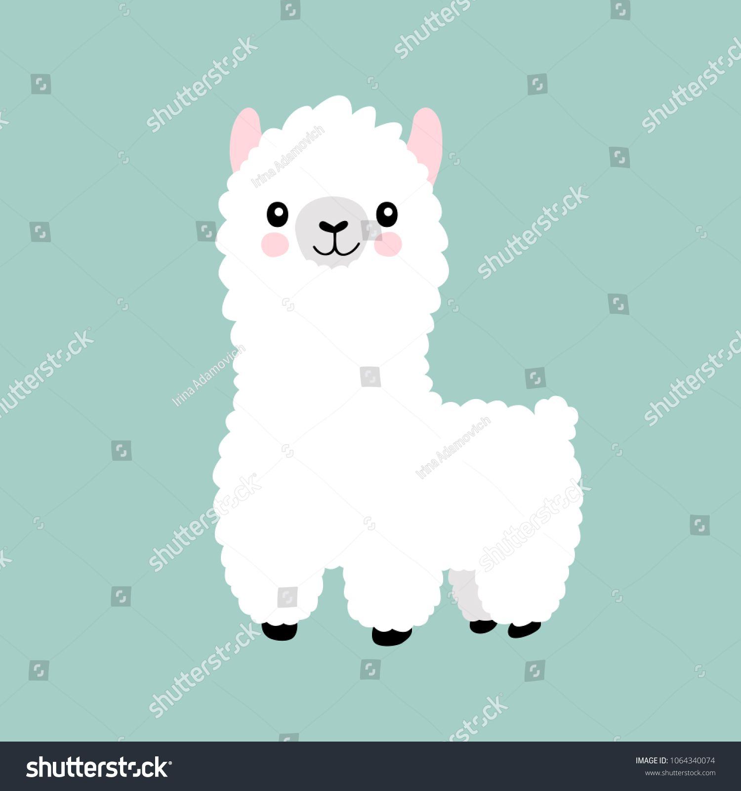 Llama Cartoon Alpaca Lama Animal Vector Isolated Illustration