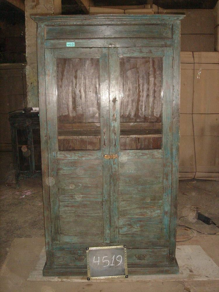Painted Curio Cabinet With Glass Doors Recycled Wooden