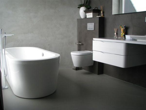 gietvloer-en-betonlook-wand-badkamer | Bathroom | Pinterest