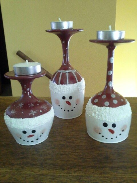 Snowmen Wine Glass Candle Holders Wine Glass Candle Holder Wine Glass Candle Wine Glass Crafts