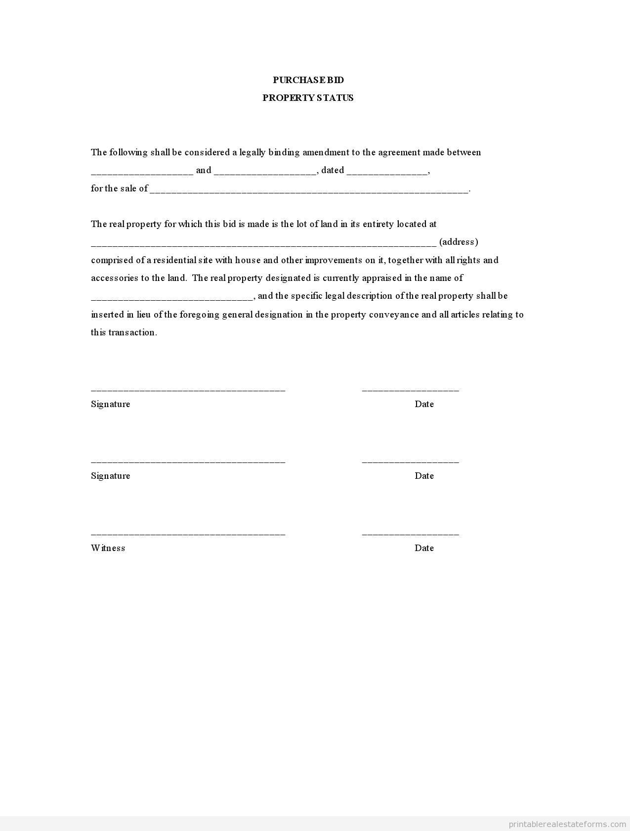 Sample Printable purchase bid property status Form – Real Estate Purchase Agreement Template Free