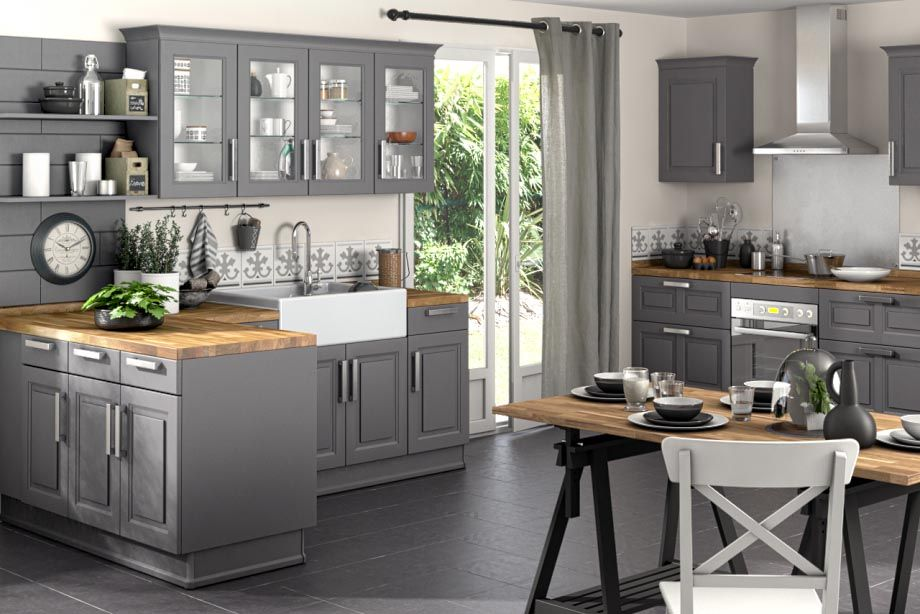 Lapeyre Cuisine Salle De Bains Interieur Exterieur Kitchen Design Grey Kitchen Cabinets Home Kitchens