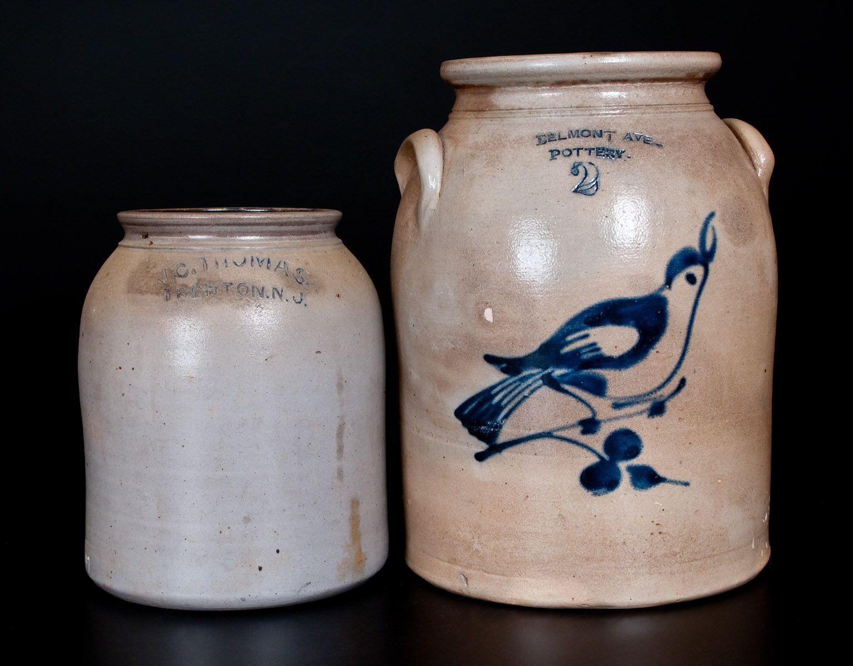 Lot Of Two New Jersey Stoneware Jars Belmont Ave Pottery And J C Thomas Trenton Stoneware Crocks Antique Stoneware Stoneware