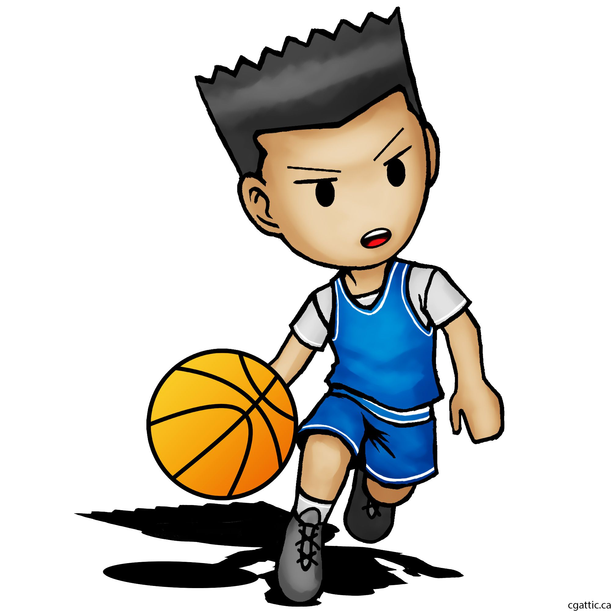 Cartoon Basketball Player Drawing In 4 Steps With Photoshop Basketball Drawings Sports Drawings Cartoon