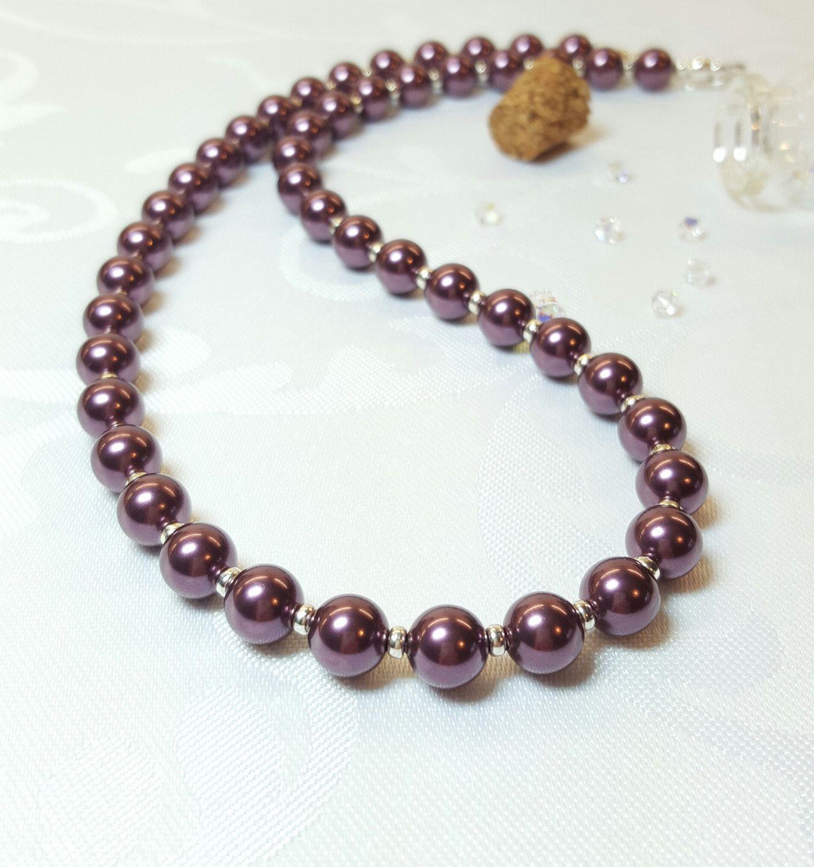 Burgundy Pearl Necklace, Purple Maroon Pearls, Burgundy Wedding ...