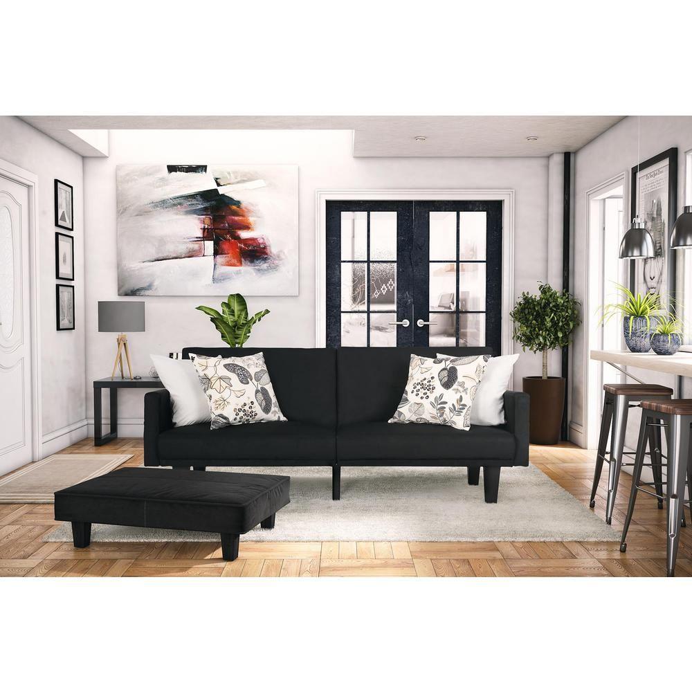 Dhp Metro Navy Futon 2130619 The Home Depot Futon Living Room Furniture Futon Decor Futon decorating living room