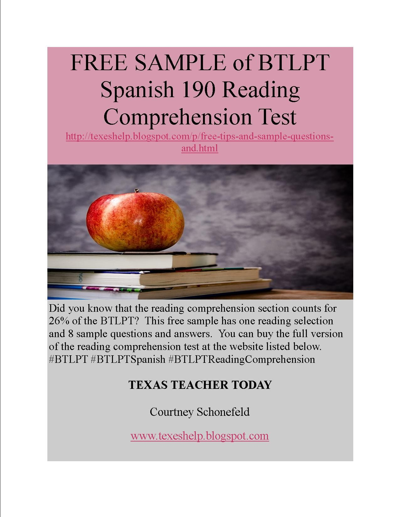Free Sample Of The Btlpt Spanish Reading Comprehension