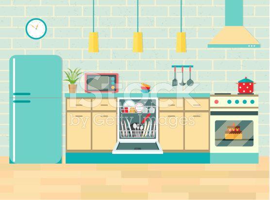 Kitchen retro interior with furniture and equipment