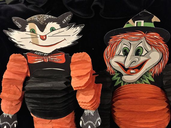 Vintage Honeycomb Halloween Cat and Witch by VintagePrairieHome - vintage halloween decorations