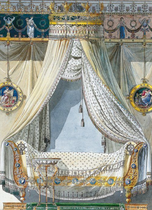 Lit avec baldaquin charles percier 1764 1838 et pierre for Lit baldaquin